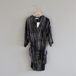 Cammi Smokey Kaftan Dress - Black/Grey