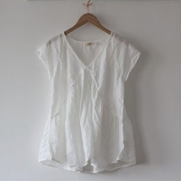 Cotton Simple Gather Top - White