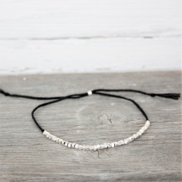 Pärlad fotlänk - Black/Silver