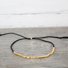 Pärlad fotlänk - Black/Gold