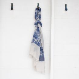 Sjal - Blå Blom