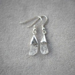 Crystal Free Shape Earrings - Silver
