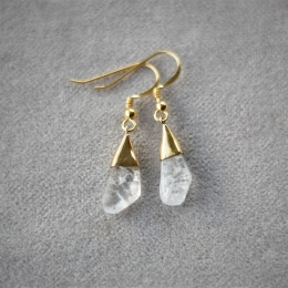 Crystal Free Shape Earrings - Gold