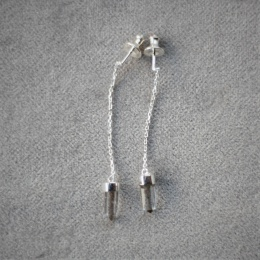 Heksagon Crystal Earring - Silver