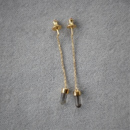 Heksagon Crystal Earring - Gold