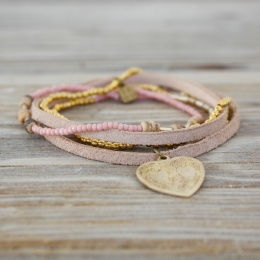 Lacy Heart - Pink/Gold