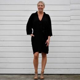 Heidi Slumber Kimono Dress - Petrol Black