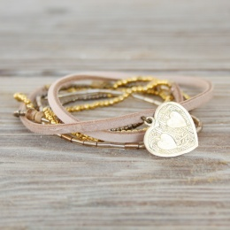 Lacy Heart - Grey/Gold