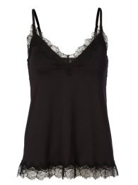 Strap Top With Elegant Lace - Black