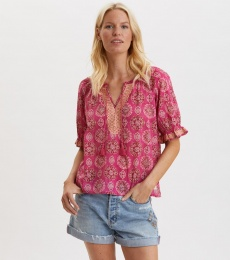 Wow Woven Blouse - Brilliant Cerise