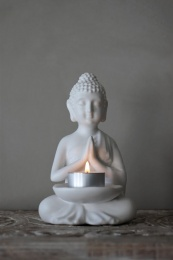 Buddha Candleholder - Vit