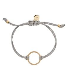Circle Cord Bracelet - Grey/Gold