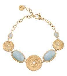 Crinkle Aquamarine Bracelet - Matt Gold