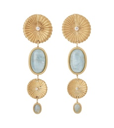 Crinkle Aquamarine Multi Earrings - Matt Gold