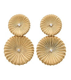 Crinkle Earrings - Matt Gold