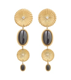 Crinkle Onyx Multi Earrings - Matt Gold