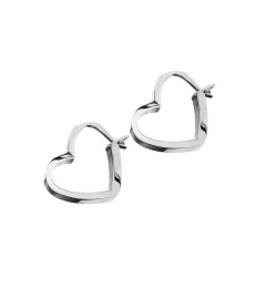 Outline Heart Earrings - Steel