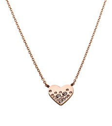 Sparkle Heart Necklace - Rose Gold