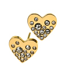 Sparkle Heart Studs - Gold