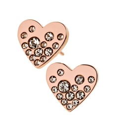 Sparkle Heart Studs - Rose Gold