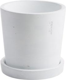 Kruka i betong, 12 cm - Vit