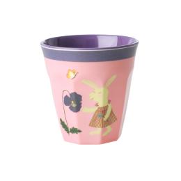 Liten Mugg - Kanin med Blomma/Rosa