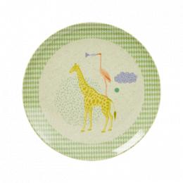 Tallrik giraff - Blå/Grön