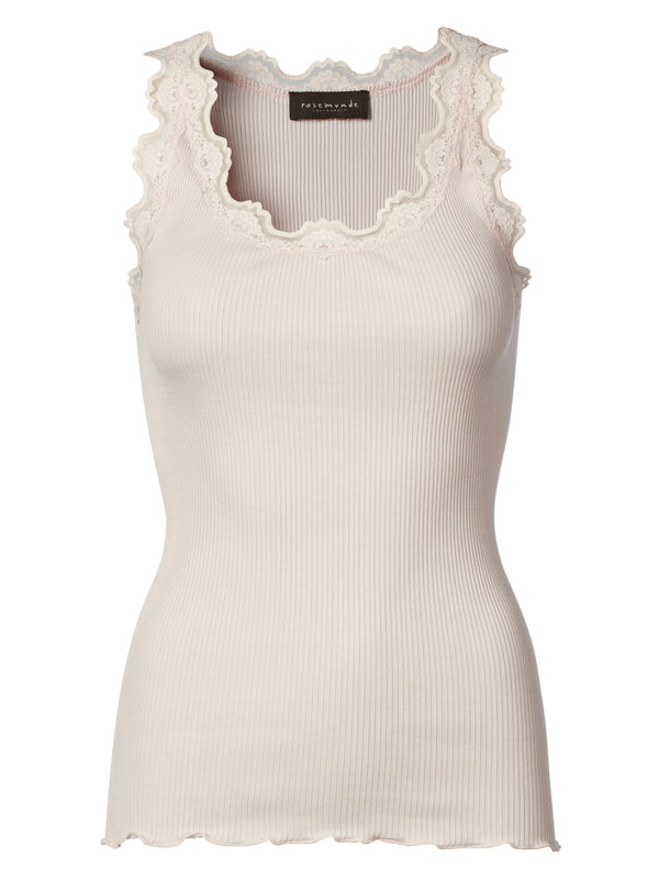 Silk Top With Vintage Lace - Soft Rose