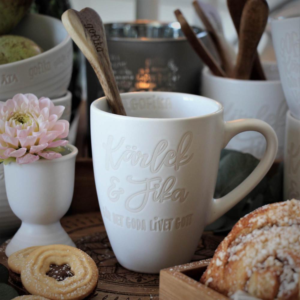 """Kaffemugg """"Kärlek & Fika"""" - Vit"""