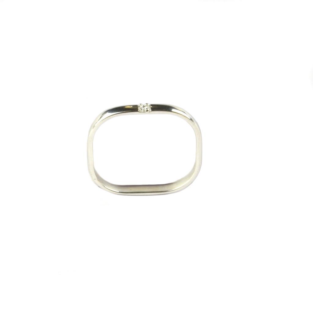 Single diamond ring - Silver