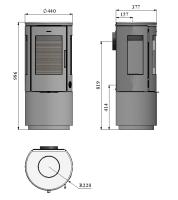 Braskamin Morsö 7443 Med Slät Sockel och sidoglas