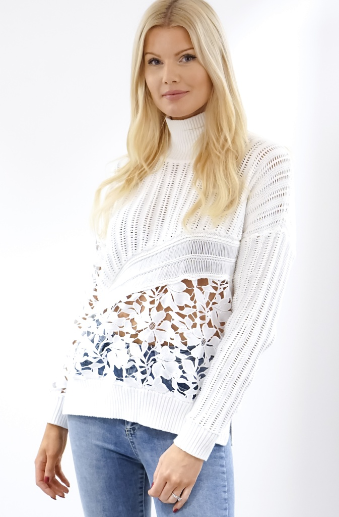 FRENCH CONNECTION - Lace and Knitted Polo