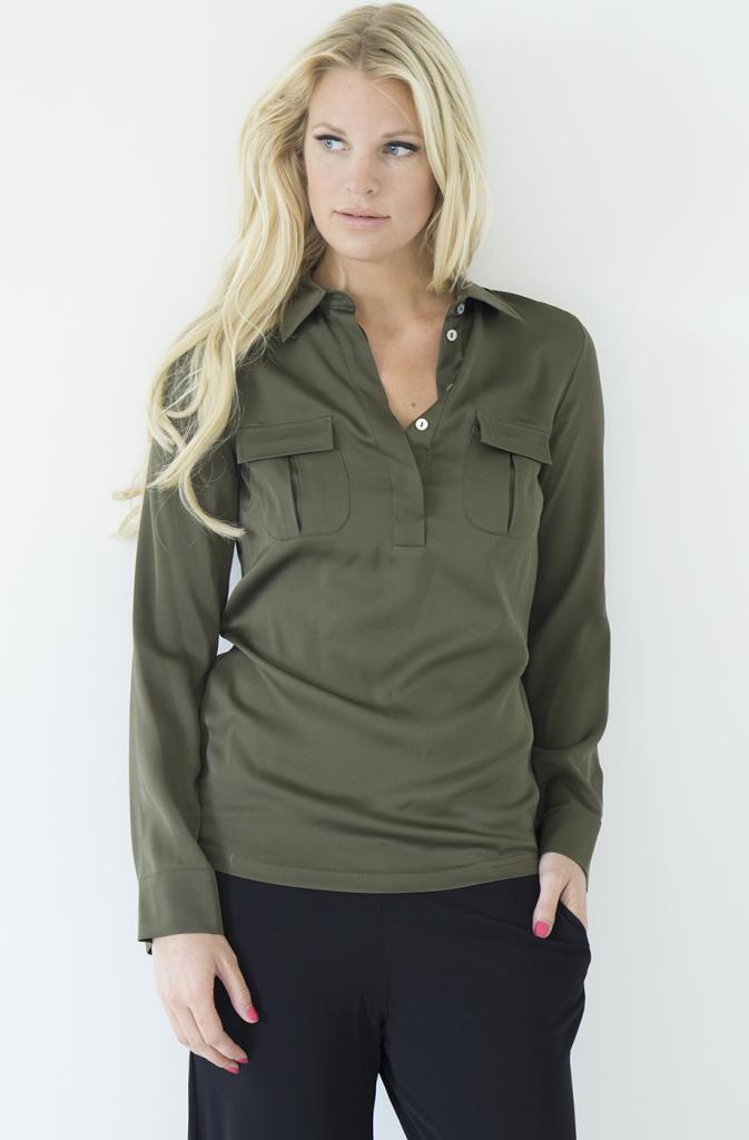 NADINE H - Grön Silk Blus