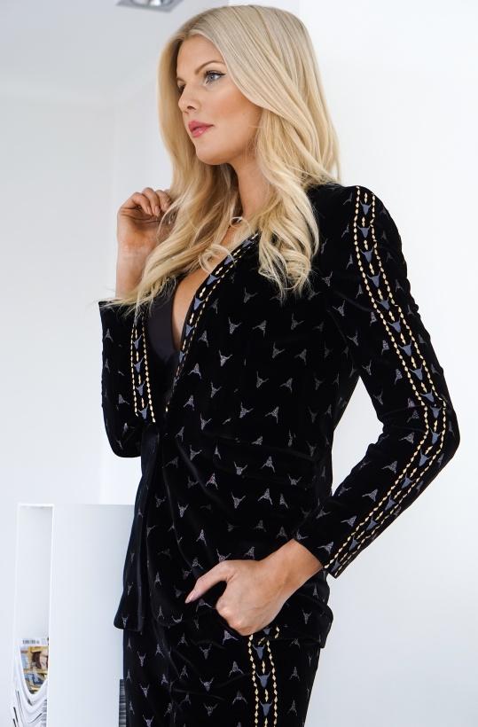 ALIX THE LABEL - Embellished Velvet Jacket