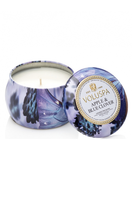 Voluspa Apple Blue Clover Tin Candle 25h