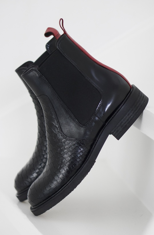BILLI BI - Chelsea Boot Black with Red back