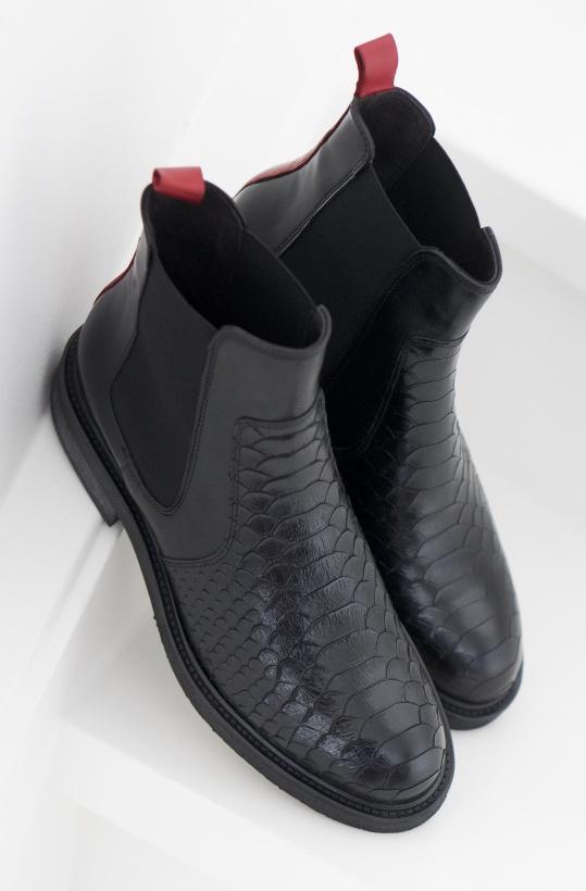 BILLI BI - Chelsea Boot Black with Red back Mitten Oktober