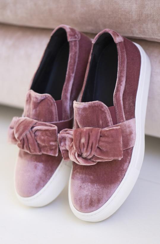 BILLI BI - Pink Velvet Bow SlipOn