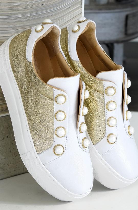 BILLI BI - Sneaker Guld/Vit med Pärlknappar