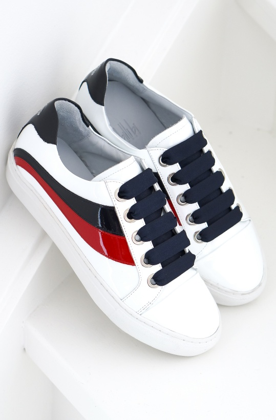 BILLI BI - Sneaker White/Red/Blue Patent