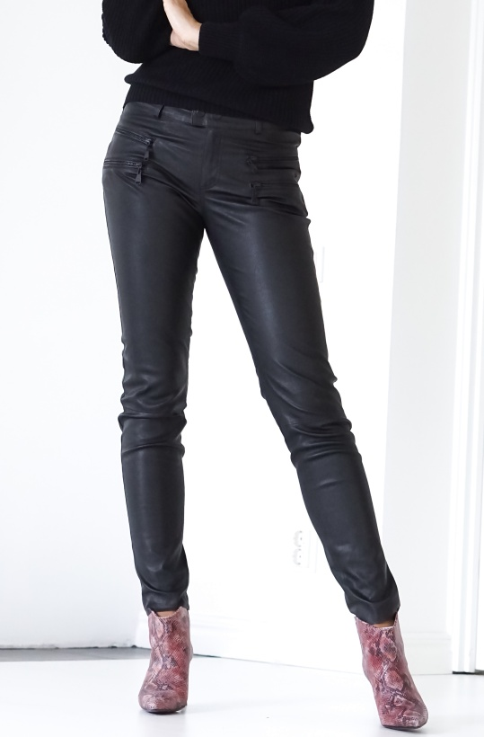 BUTTERFLY CPH - Stretch Leather Pants with Zippers