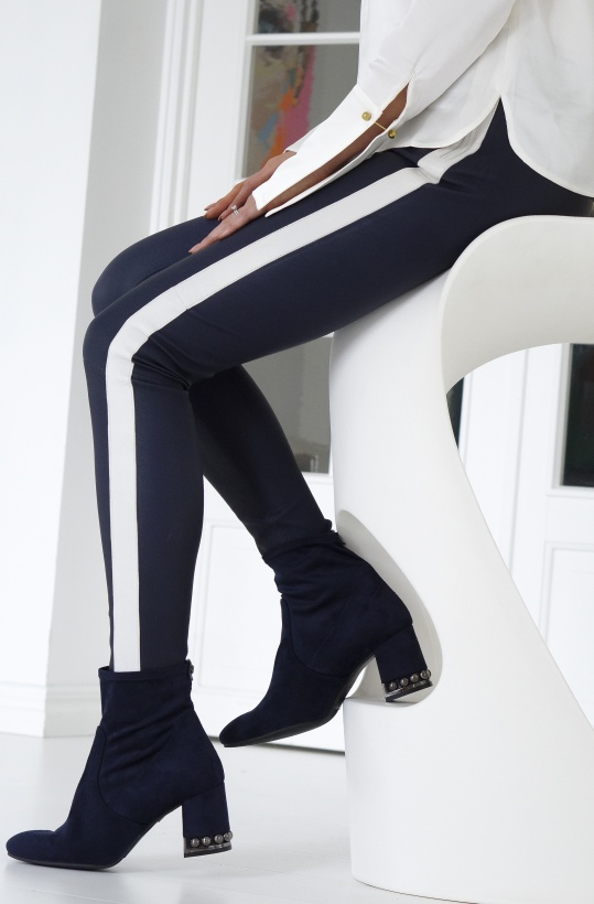 BUTTERFLY CPH - Dark Blue White Stripe Stretch Leather Pant