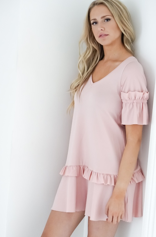 BY TIMO - V-neck dress Ruffles Pink