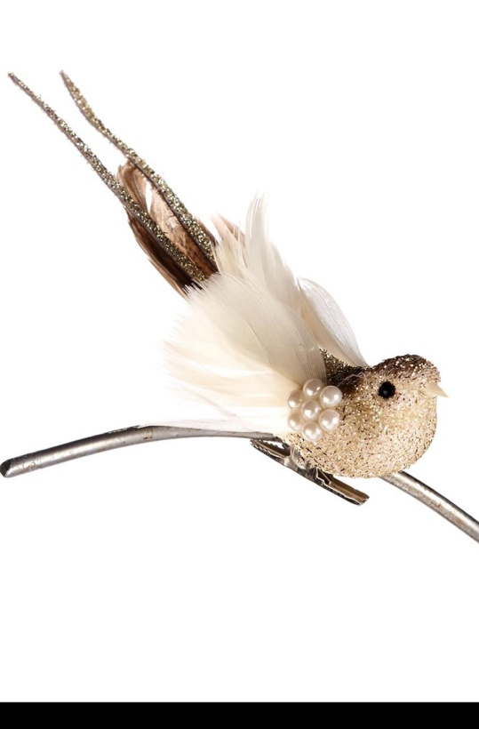 Bird on Clip Pearls