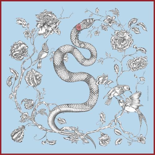 EMMA FÄLLMAN - Mini Silk Scarfe Blue Snake