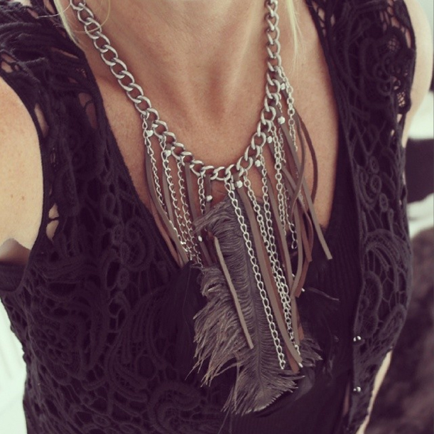 Feather Necklace Silver Brunt