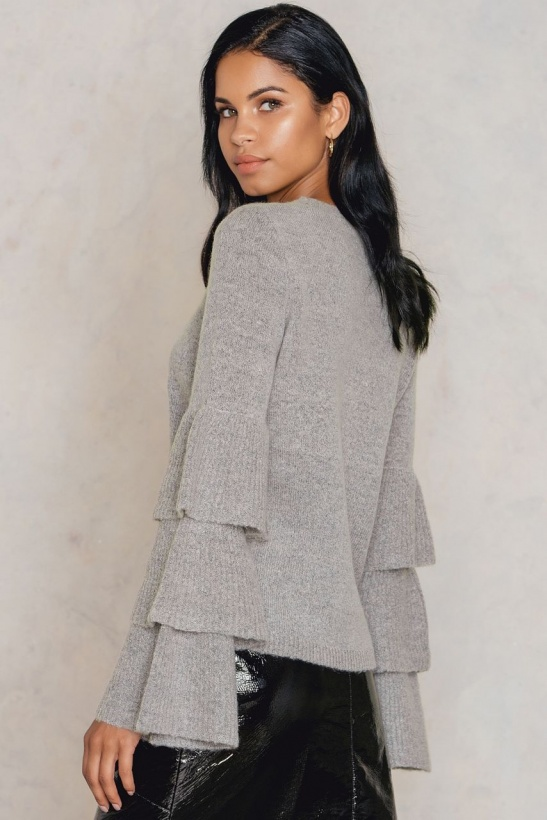 NA-KD - Flounce Sleeve Knitted Sweater