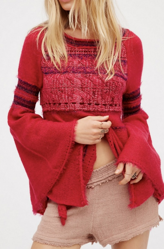 FREE PEOPLE - Craft Time Sweater Cerise