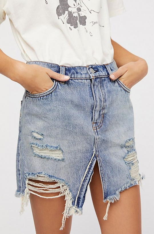 FREE PEOPLE - Relaxed Destroyed  Denim Skirt