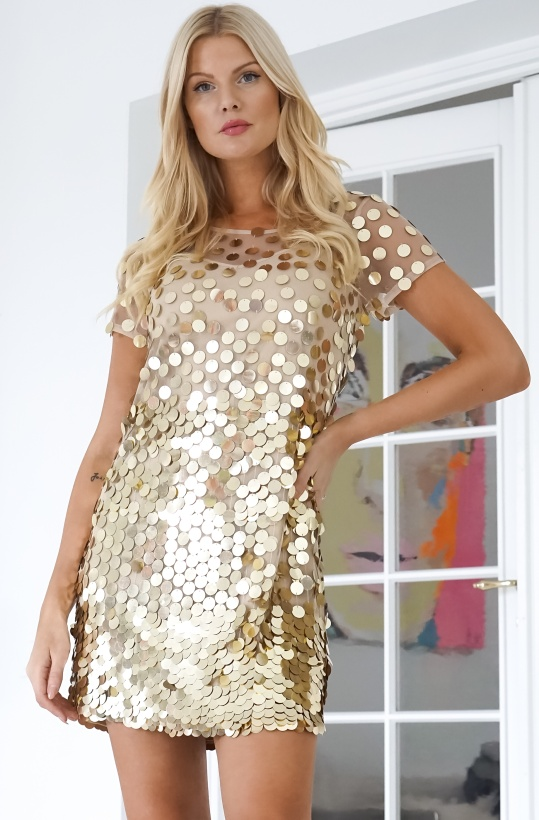 FRENCH CONNECTION - Gold Tunic Dress